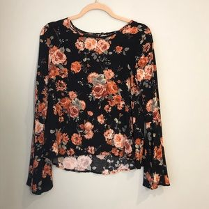 One Clothing Black Floral Bell Sleeve Top